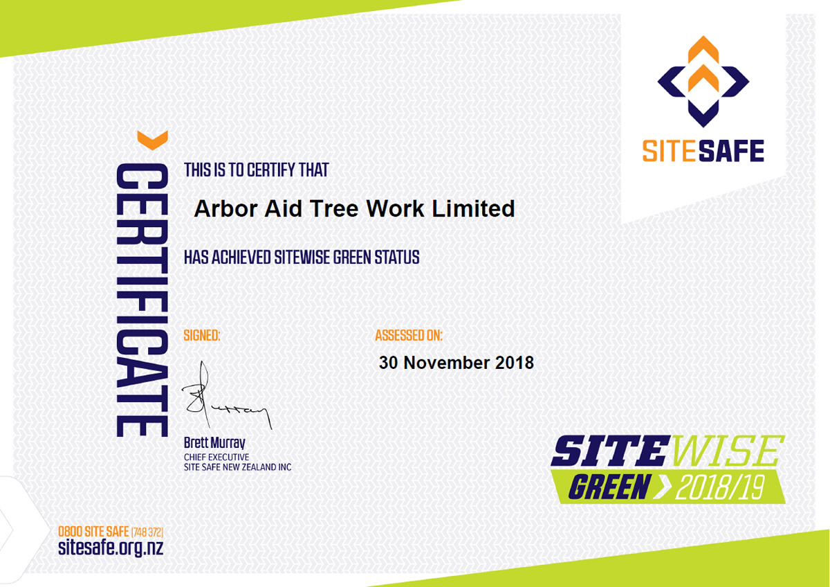 SiteWise green certificate Arbor Aid 2018-19